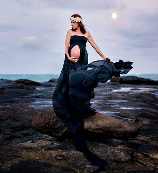 White And Black Women Pregnancy Photography Props Dresses Clothes Maternity  Long Dress Baby Shower Gown Pregnant Dresses In Dresses From Mother U0026 Kids  On ...