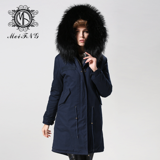 32af2ba3473b Winter Coats Women Dark Blue Korean Style Black Faux Fur Lined Down Jackets  Real Raccoon Fur Hooded Collar-in Faux Fur from Women s Clothing on ...