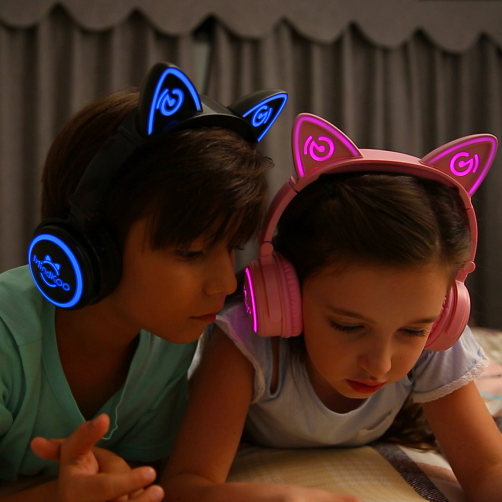 Mindkoo bluetooth 4.2 wireless cat ear headphone LED Flashing Glowing cat ear earphone gaming headset for PC Laptop Mobile Phone g1100 3 5mm pro gaming headset headphone for ps4 laptop crack pattern led led blue black red white