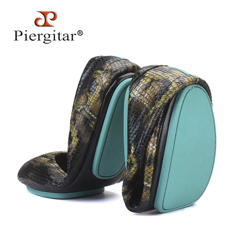 Piergitar Wear Outsole Snake-Pattern Foldable Carry Women's Flat Plus-Size for And Convenient