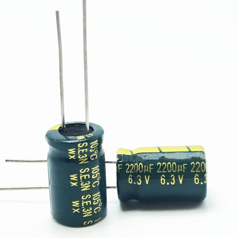 10pcs/lot 6.3v 2200uf 10*16mm High-frequency Low-impedance Aluminum Electrolytic Capacitor 2200uf 6.3v2200uf 20%