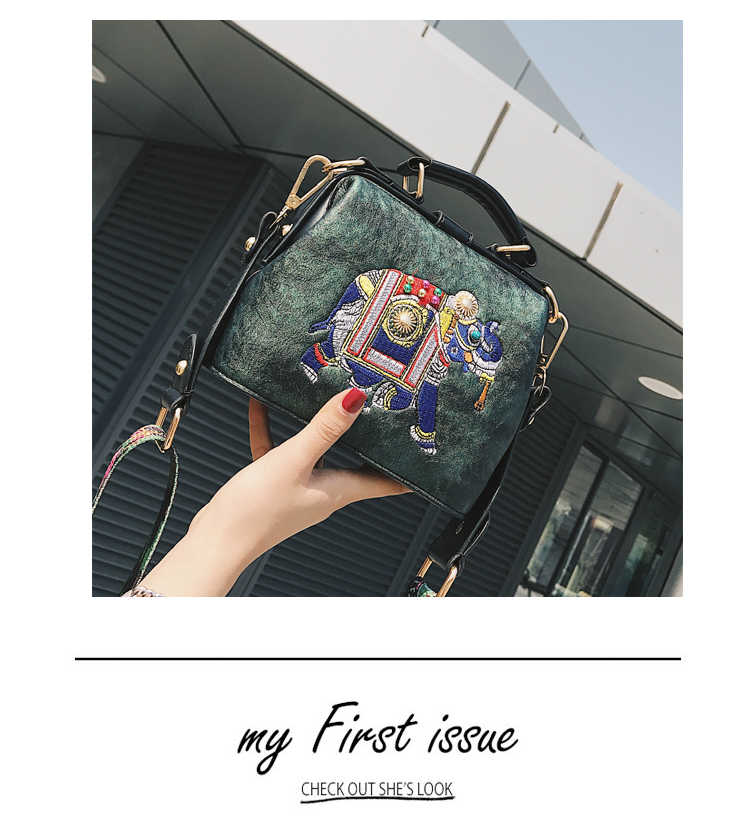 327670daf1c8 ... Ethnic PU Leather Elephant Doctor Handbags Embroidery Design Fashion Bag  for Women Wide Strap Brand Small ...