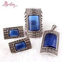 מלבן חרוזי קריסטל CZ הכחול בסגנון עתיק טיבטי כסף קלאסי קצר נשית בסגנון אופנה תכשיטים, משלוח חינם