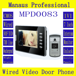 Hot selling Smart Home 7 inch Screen Display 1V1 Video Intercom Phone Wired Magnetic Lock RFID Video door phone D83b