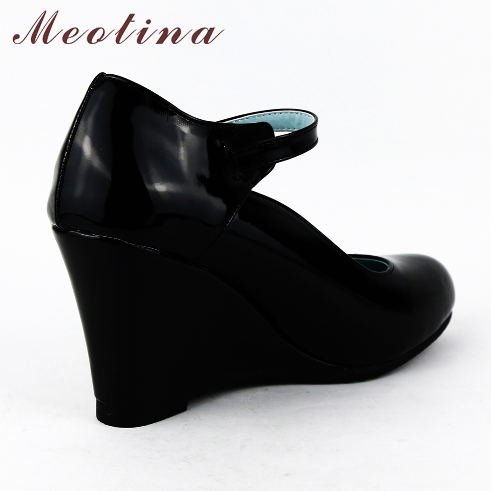 Meotina Shoes Women White Wedding Shoes Patent Leather Wedge Heels ...