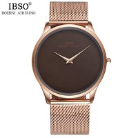 IBSO Mens Watches Top Brand Luxury Steel Mesh Strap Quartz Wristatches 2017 Fashion Simple Style Watch