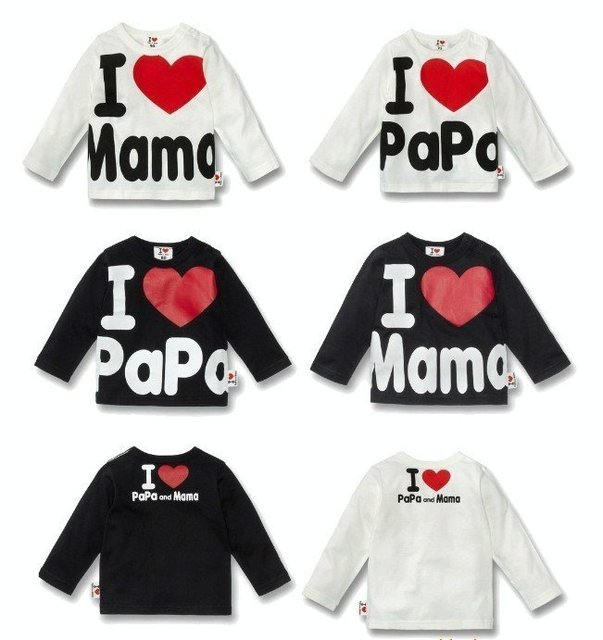 Wholesale Summer clothes I Love PaPa MaMa Girl and boy long sleeve t-shirt in stock 16pcs hot selling