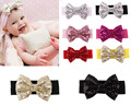 Kids Baby Girls Bebe Children Supreme Sequin Bowknots Hair Accessories Band Headdress Headwear Hair Band Accessories Headwear