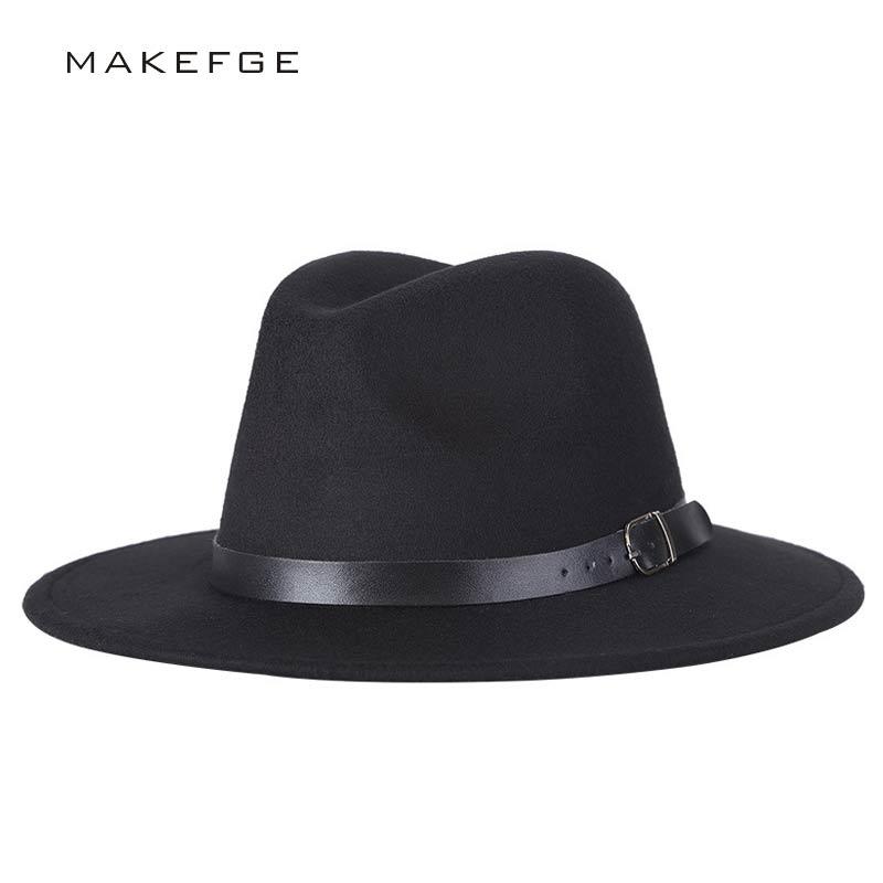 Tienda Online Chapeu sombrero Fedora femenino de Chapeu de diseño de feutre  para Laday ala ancha Sombreros Jazz Iglesia gorra Panamá Fedora sombrero ... 54dc03b94c70
