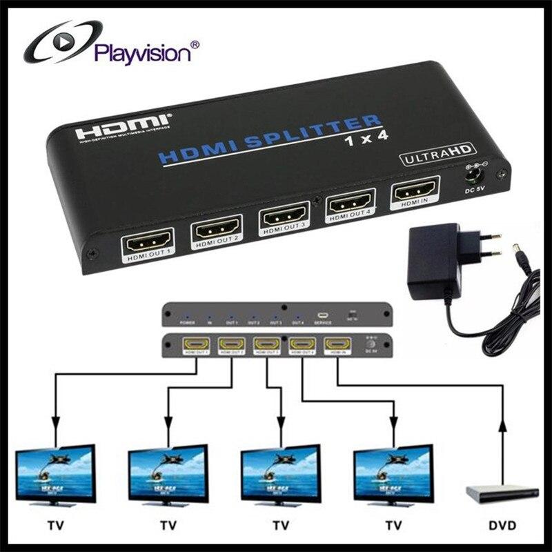Playvision 4K*2K UHD HDMI Splitter 1x4 1 Input 4 Output Repeater Switch Box Hub 1080p@60Hz For HDTV PS3 DVD STB,EU Power Plug new 4k x 2k full hdmi splitter 1x4 4 port hub repeater amplifier v1 4 3d 4k 1 in 4 out
