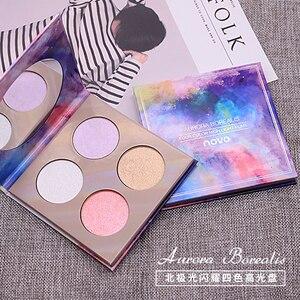 Палитра румян Aurora Borealis, 4 цвета, контурный макияж для осветления лица, мерцающая пудра, матовая, телесная косметика