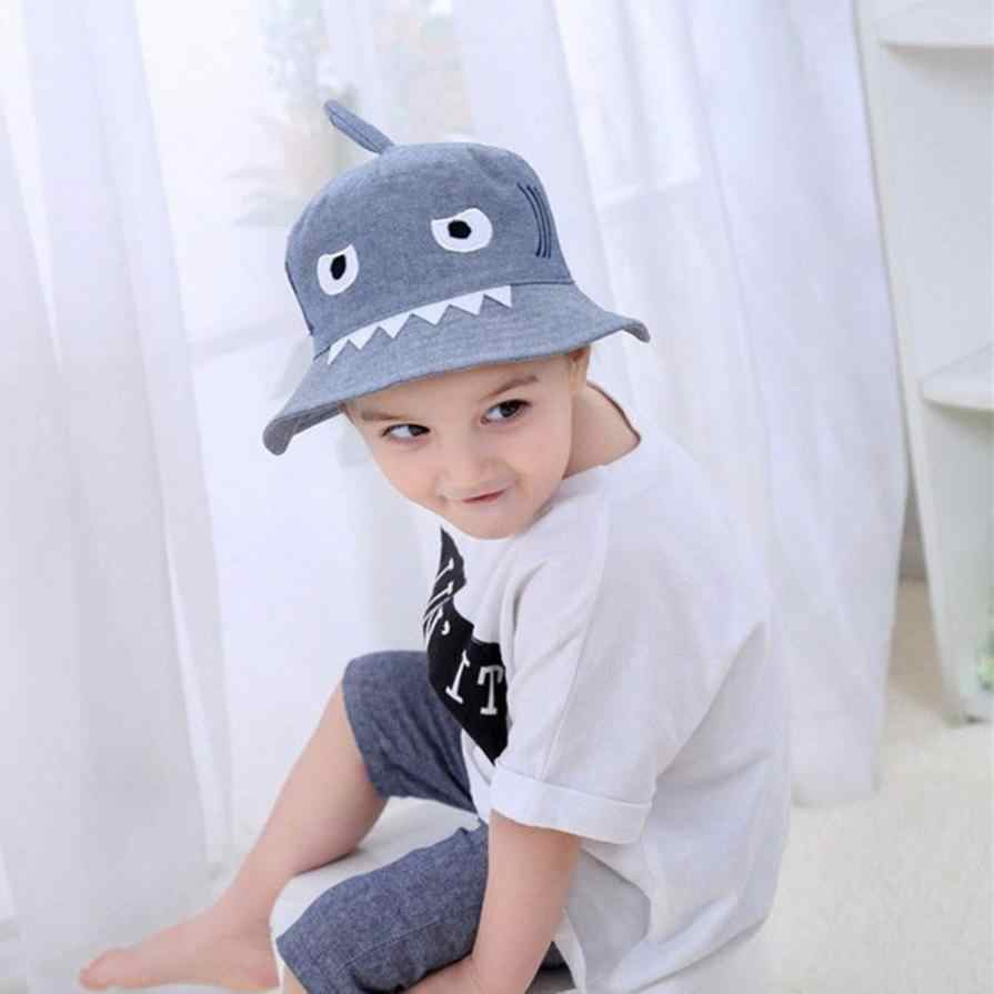 22106ff4 ... Yangmaile Toddler Baby Kids Boys And Girls Hat Children Cartoon Shark  Print Autumn Cap Printed sun ...