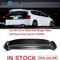 For EP3 Civic 2002 2005 Mugen Style Carbon Fiber Hatchback Roof Spoiler (USDM) For Honda Glossy Fibre Wing