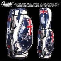AU Australia Flag Golf Caddie Cart Bag PU Leather Standard Golf Tour Staff Bag With Rain Hood 5 way For Men Women
