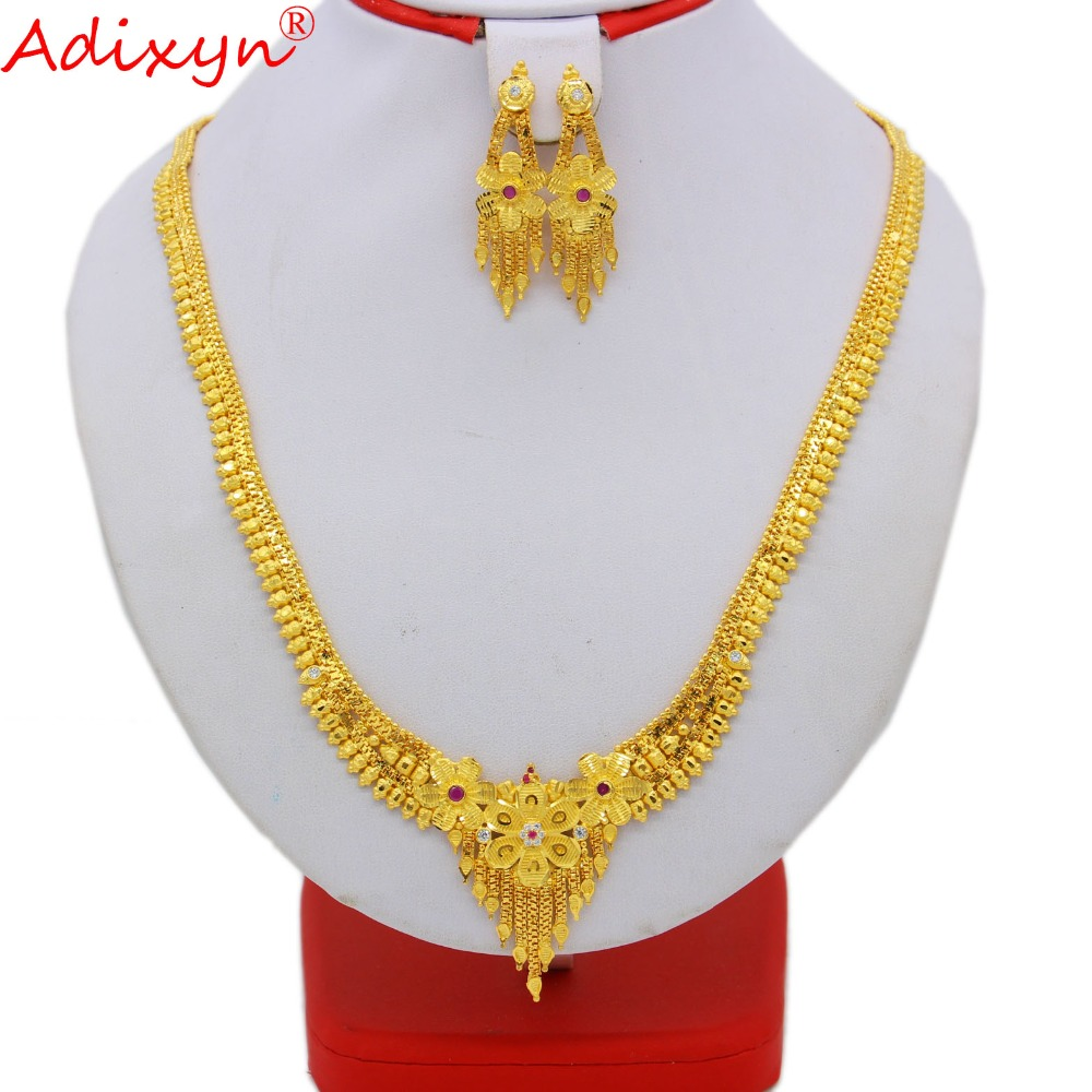 Adixyn Long Size Crystal Neckalce Earrings Jewelry For Women Gold Color African/Ethiopian/India/Middle East Set Gifts N09169 adixyn dubai gold bangles fashion jewelry for women men gold color bangles bracelets african india middle east items free box