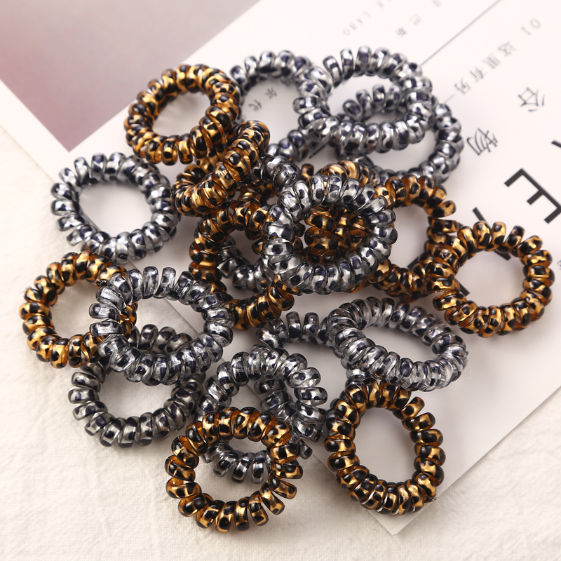 10PCS/lot 3cm Small Telephone Line Hair Ropes Girls Leopard Elastic Hair Bands Kid Ponytail Holder Tie Gum Hair Accessories