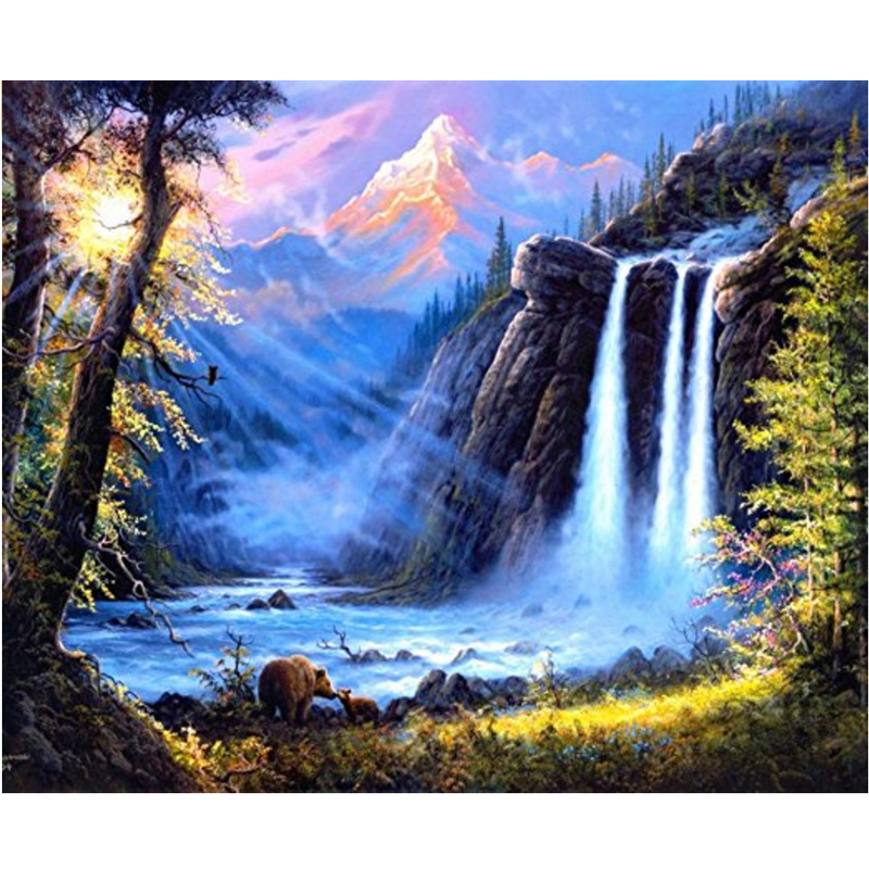Needle Arts & Crafts 4 Pcs 5d Diy Diamond Painting Waterfall Landscape Embroidery Full Round Diamond Cross Stitch Rhinestone Mosaic Painting Decor Diamond Painting Cross Stitch
