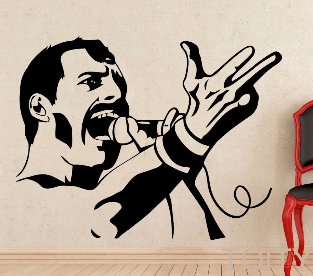 Freddie Mercury Wall Decal Rock Music Queen Vinyl Sticker Retro Art Decor Bar Studio Club Restaurant Home Interior Room Mural