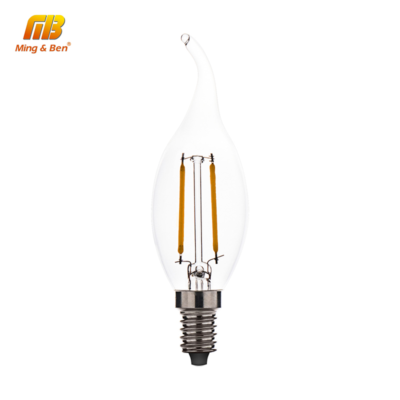 LED Filament Candle Light Bulb 2W 4W 6W E14 AC 220V 110V C35 Edison Bulbs Retro Antique Chandelier Crystal Light Bombillas Decor