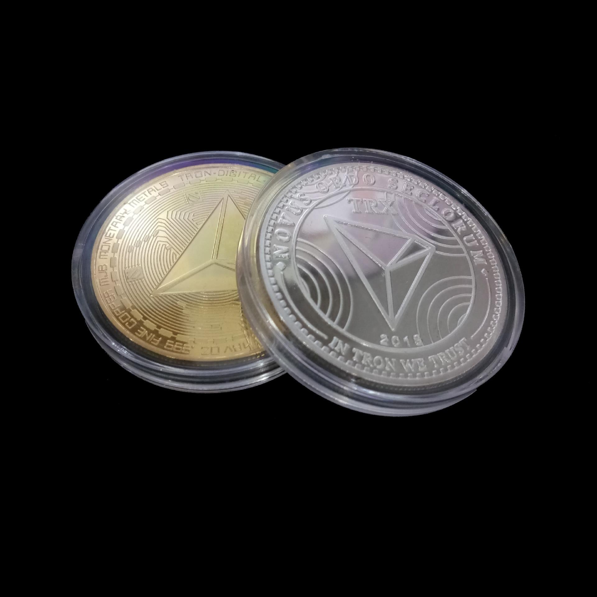 Новые неталютные TRX монеты виртуалные металлические памятные монеты TRX монеты Биткоин памятные монеты подарок Прямая