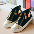 Yeeshow 2016 New Canvas Kids Shoes Wearable Rubber Sneakers Boys High Breathable Letter Zipper Girls Shoes Casual Comfortable