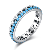 925 Sterling Silver Turquoise Geometric Stone Ring