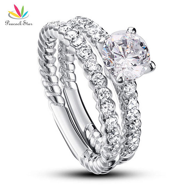 Peacock Star 1 Carat Round Cut Created Diamond Solid 925 Sterling Silver 2-Pcs Wedding Anniversary Engagement Ring Set CFR8010