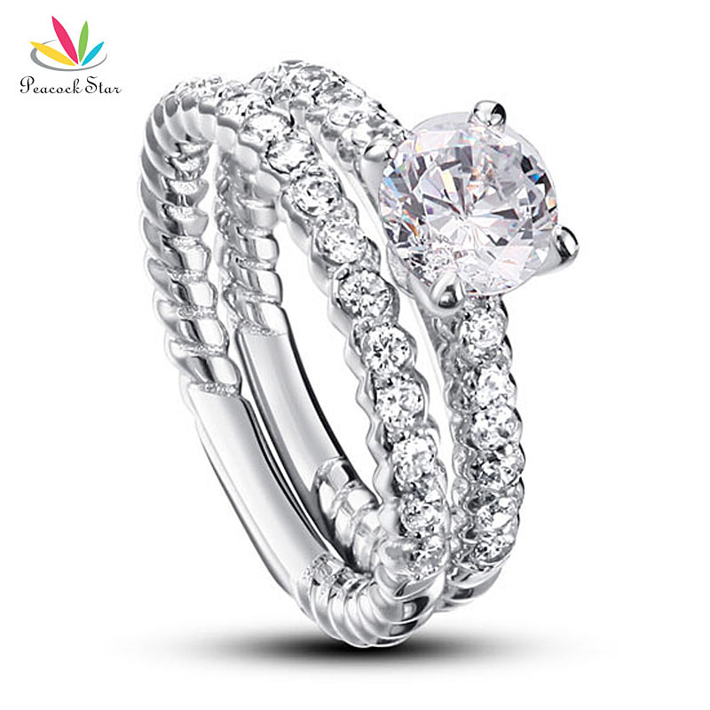 Peacock Star 1 Carat Round Cut Solid 925 Sterling Silver 2 Pcs Wedding Anniversary Engagement Ring