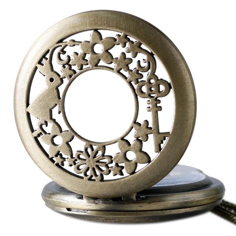 Retro Bronze Alice In Wonderland Drink Me Tag Women Rabbit Flower Pocket Watch Necklace Pendant Novelty Christmas Gifts Girl Boy 2017 2018 Men Women (5)
