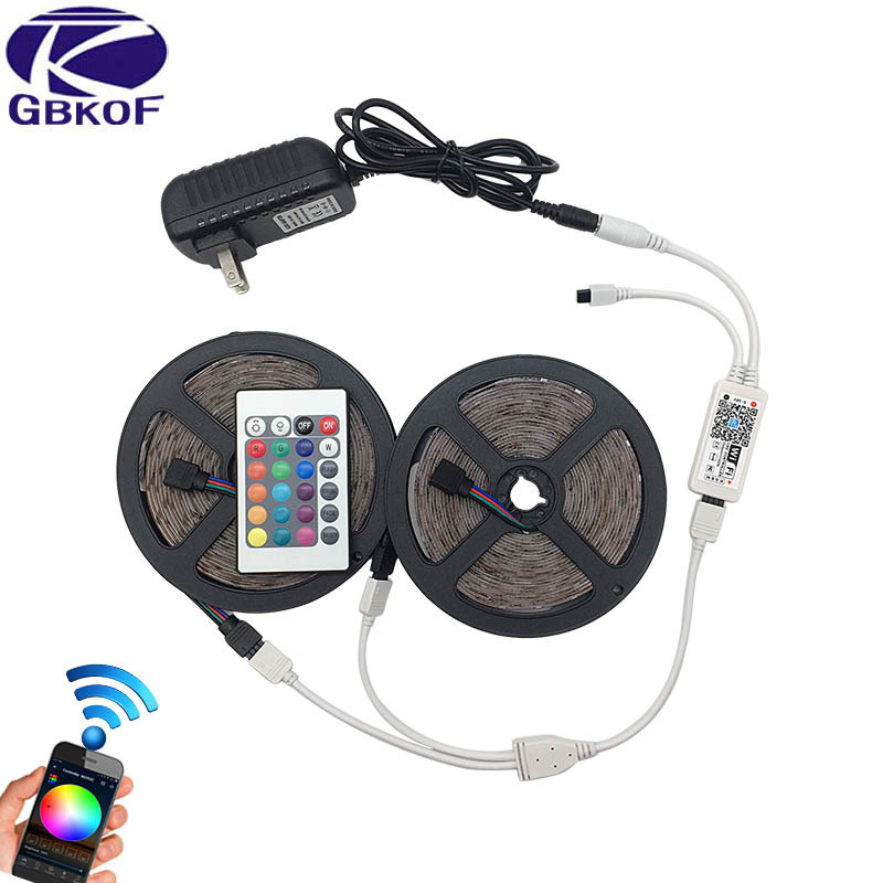 10M RGB LED Strip Light 2835 SMD Waterproof RGB Tape 5M 15M LED Tape lamp flexible diode+WiFi controller+DC12V Power Adapter set led strip light 2835 smd rgb led tape 3528 led flexible strip 5m 10m waterproof lamp ribbon remote controller dc12v power supply