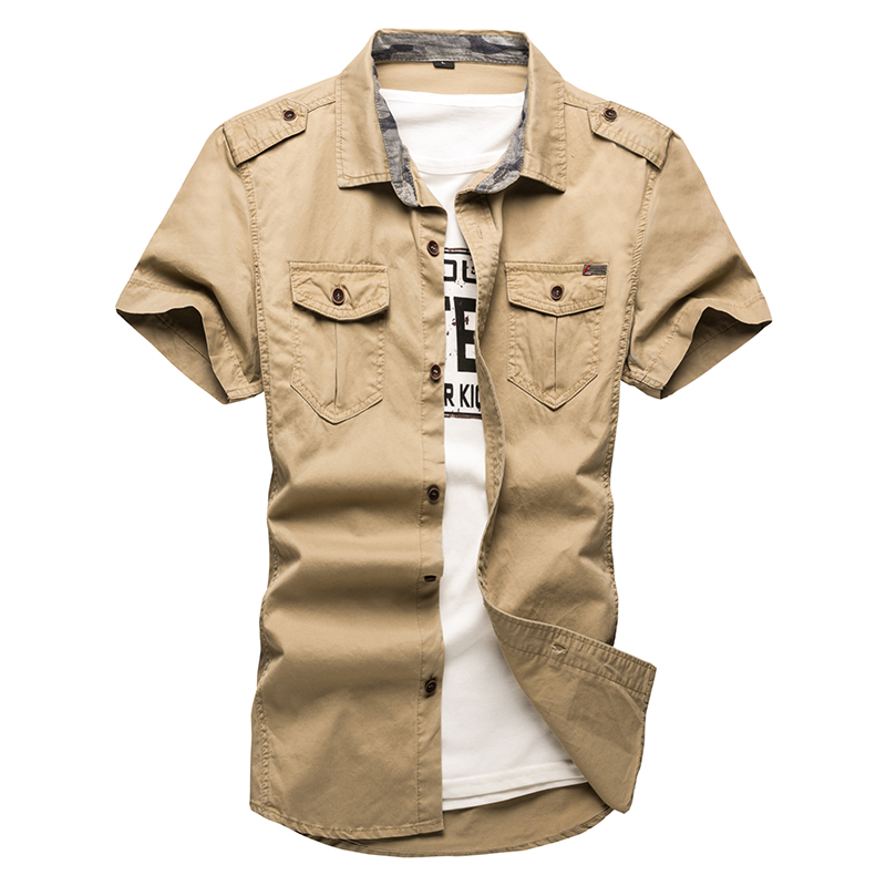 Plus Size Summer Man Cargo Shirts Embroidery Badge 100%Cotton Short Sleeve Shirts Men Military Solid Color Casual mens shirts
