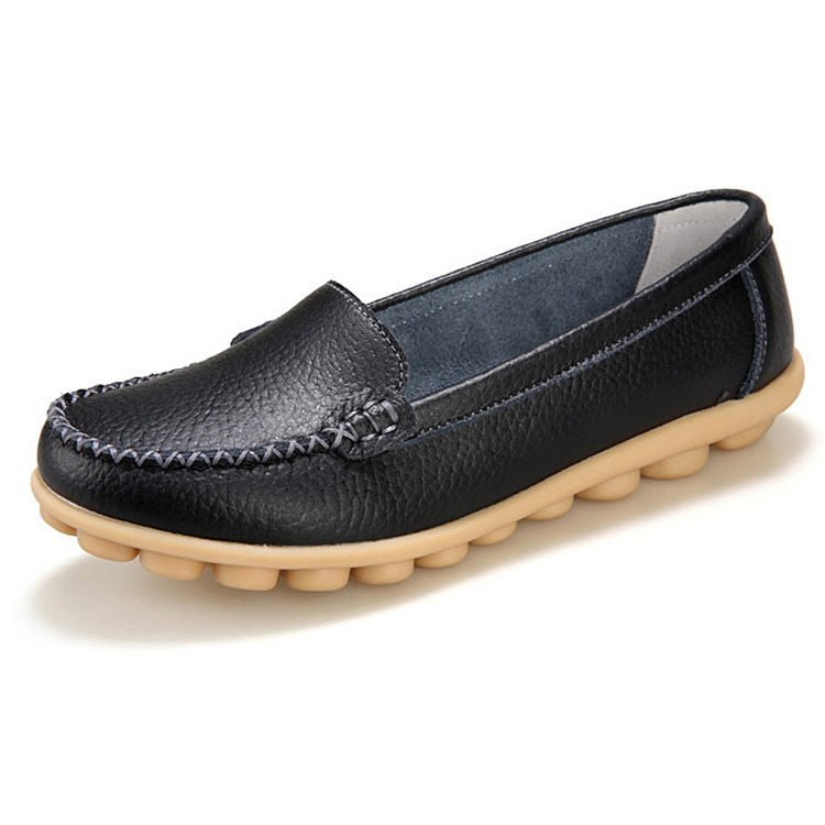 New Women Real Leather Shoes Moccasins Mother Loafers Soft Leisure Flats Female Driving Casual Footwear Size 35-41 In 7 Colors split leather dot men casual shoes moccasins soft bottom brand designer footwear flats loafers comfortable driving shoes rmc 395