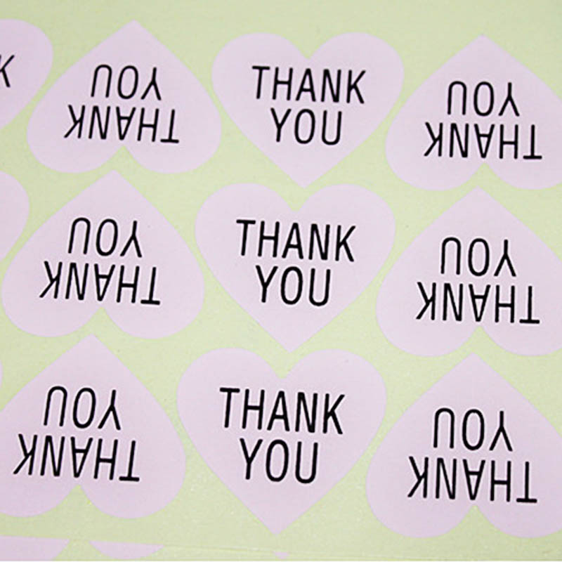 300pcs/lot Thank You Heart Design Sticker Labels Seals 3.8cm Gift Stickers For Wedding Free Shipping упаковочные этикетки thank you for you 100pcs lot 30 ne 0005