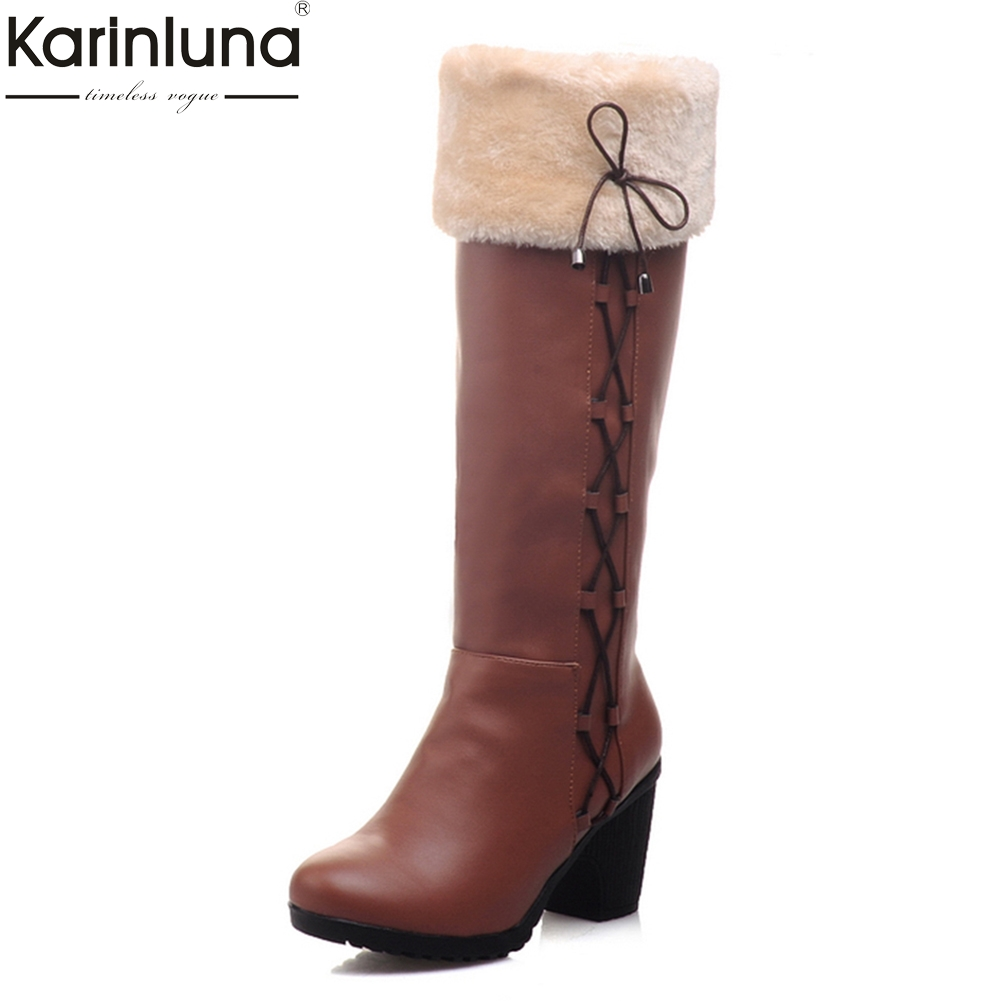 KARINLUNA 2018 large sizes 34-43 winter add fur knee-high Boots Women Shoes Woman high Heel Black Woman Shoes riding snow boot цена