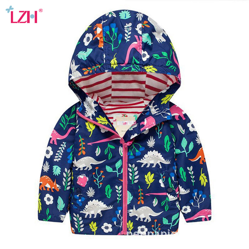 LZH Boys Girls Raincoat Waterproof Jacket Coat with Hooded for Toddler