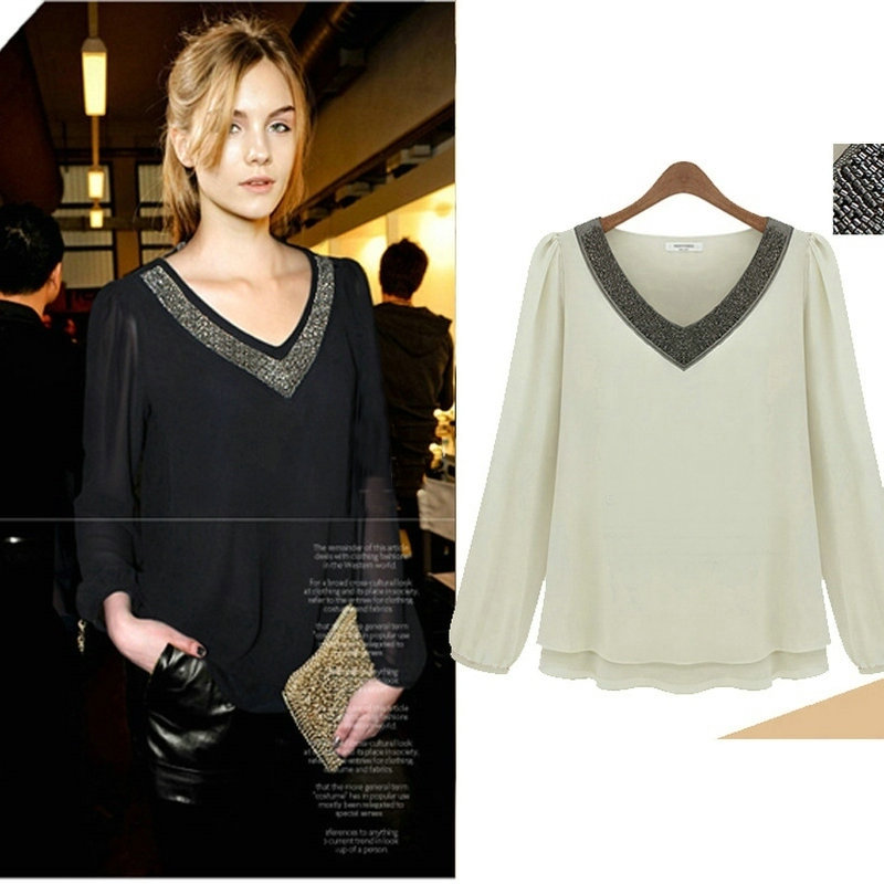 Femmes Blouses printemps été en mousseline de soie Blouse décontracté Blusa Feminina hauts mode Chemise Femme chemises de grande taille 5XL blanc noir