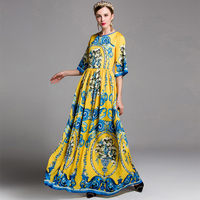 2017 New Summer Vintage Print Dress Women Flool Length Evening Party Long Dress Top Quality Half