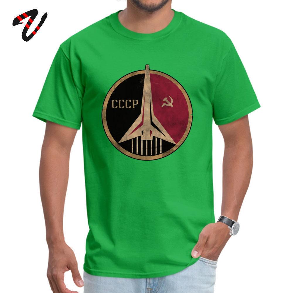 Crazy Short Sleeve Tops & Tees NEW YEAR DAY Round Neck Pure Cotton Men's Tshirts Simple Style Crazy T Shirt Fashionable Soviet Union propaganda poster space 10804 green