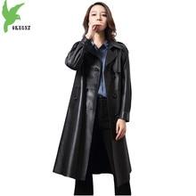 Genuine Leather Coat for Women 2018 Spring Autumn Double-breasted Black Sheepskin Jacket Plus size Female Slim Long Coats 2112