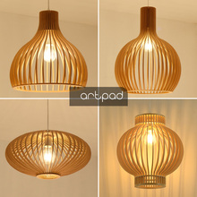 New Chinese Traditional Wood Lantern Ceiling Hanging Lamp Birdcage Japan Tatami Pendant Light Dining room Balcony Living