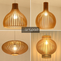 New Chinese Traditional Wood Lantern Ceiling Hanging Lamp Birdcage Japan Tatami Pendant Light Dining room Balcony Living room