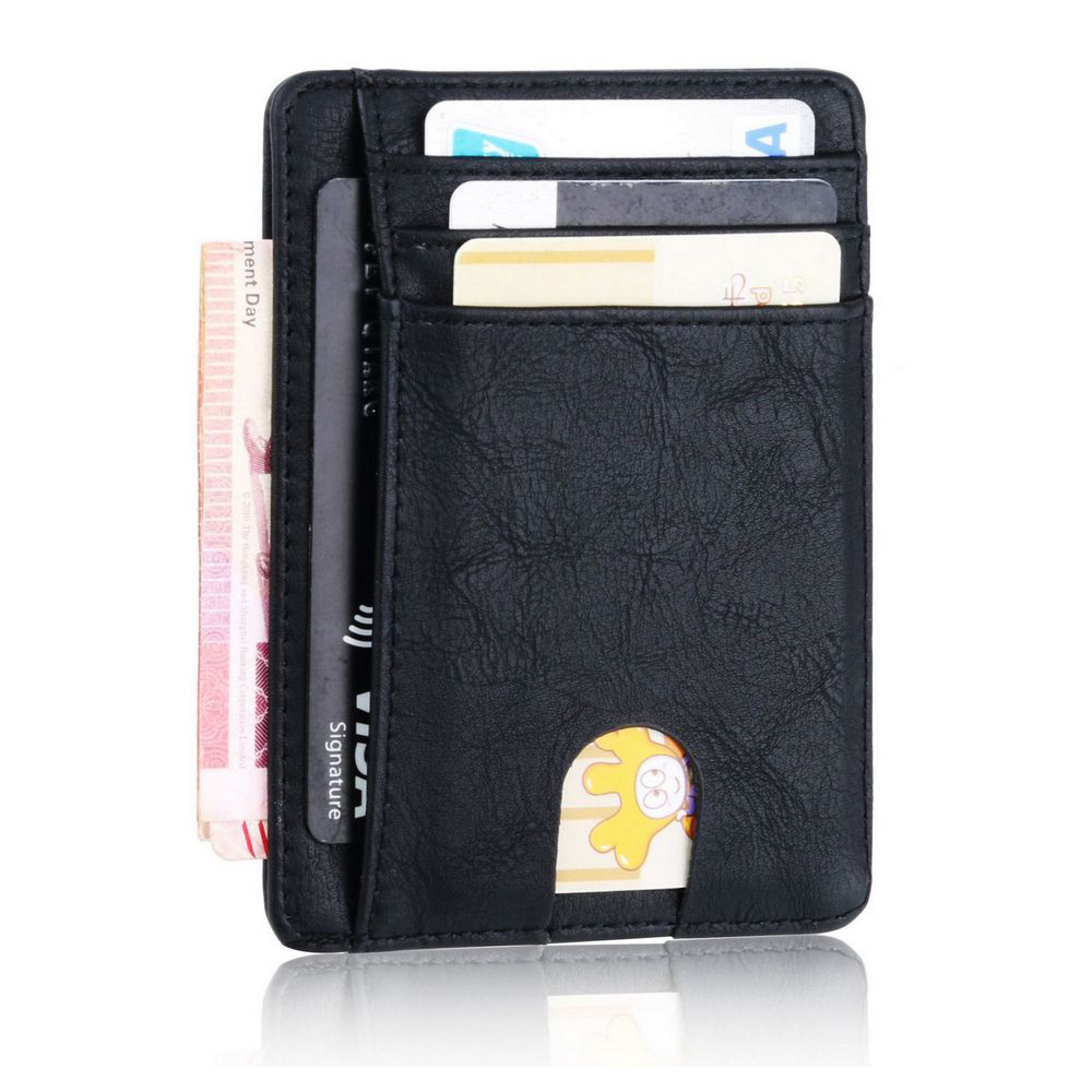 TRASSORY Men Women Small Bank Travel Leather Business Card Case Slim Rfid Lightweight Front Packet Wallet