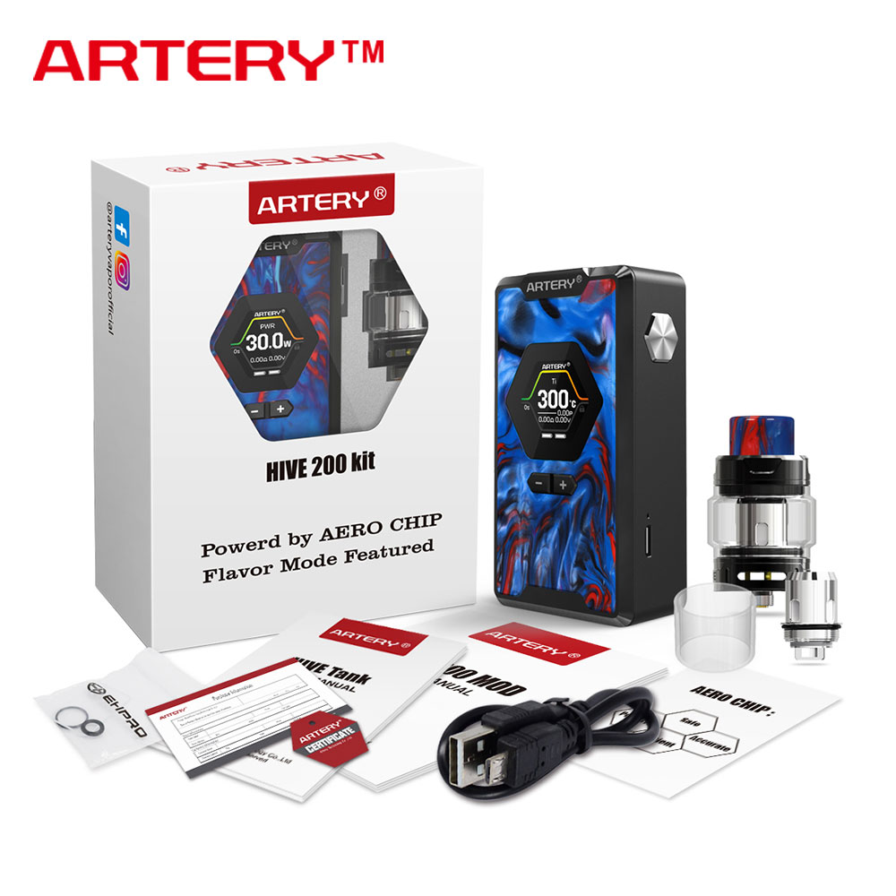 Artery Hive 200 TC Kit with 3ml/4ml Hive Subohm Tank & 200W Max Output with 0.01s Instant Fire Speed No 18650 Battery E-cig Kit new free shipping one type honey flow hive 20 pcs plastic frame honey bee hive honeycomb free installation hive flow hive frames