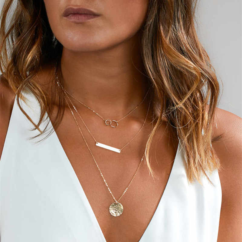 RONGBIN 2018 Gold Coin Layered Moon Choker Necklace For Women Coin Chocker Necklaces Pendants colar Collares collier femme kolye