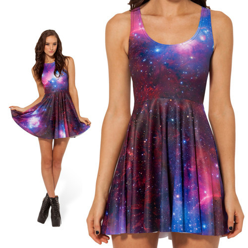 8c521b98088a2 New 2014 Summer Skater Dress Black Milk Galaxy Purple Print Dresses For  Girl Women Black Milk Skater Dress Novelty Vestidos