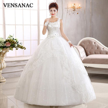 VENSANAC 2018 Crystal Flowers One Shoulder Sequined Ball Gown Wedding Dresses Tiered Lace Appliques Backless Bridal Gowns