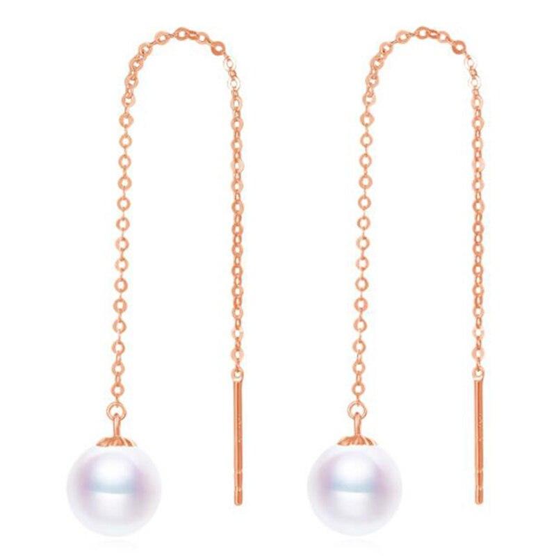 Sinya Au750 or rose couleur boucle d'oreille avec 7-9mm naturel rond haut lustre perles longue chaîne gland conception boucle d'oreille pour les femmes
