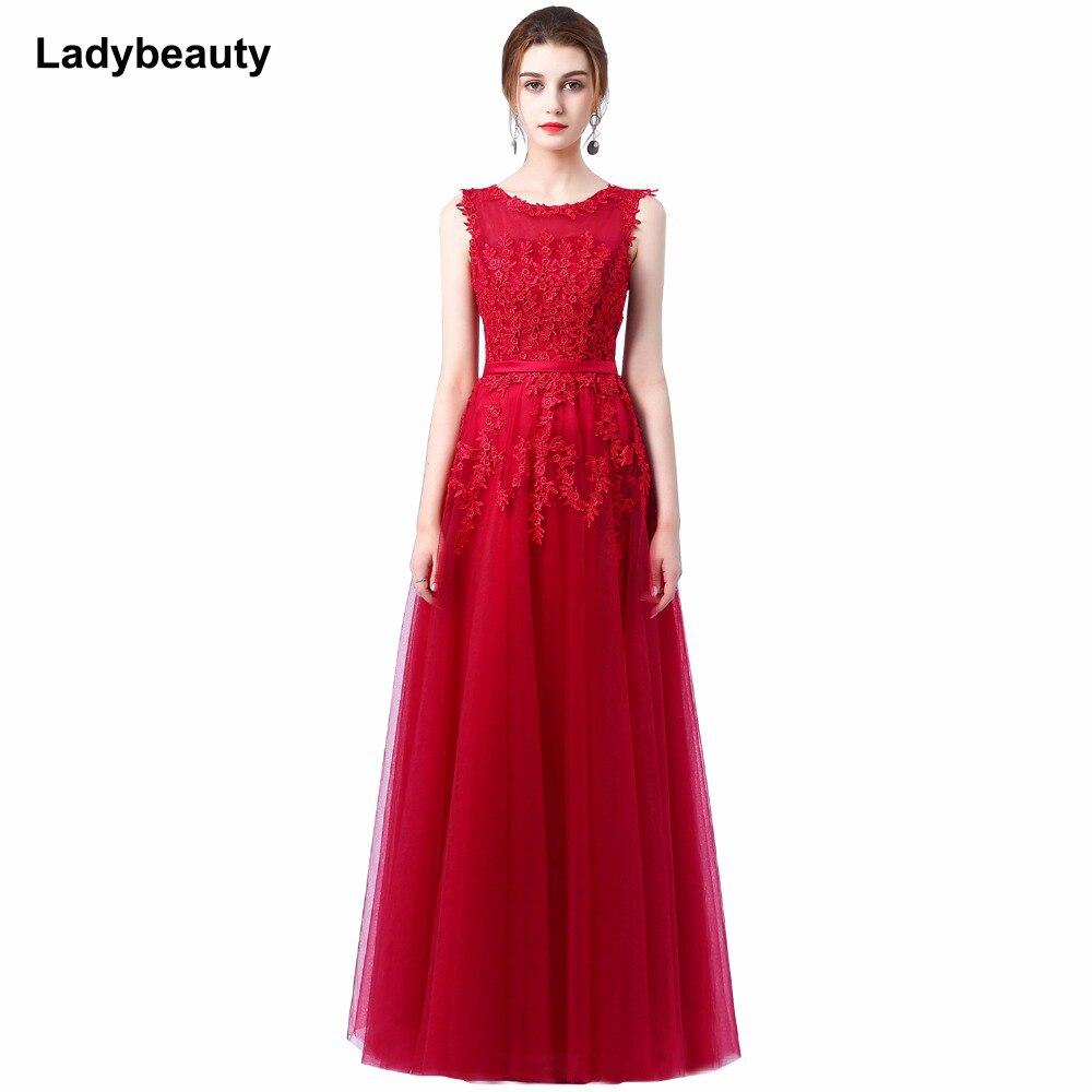 Robe De soirée 2018 nouvelle dentelle rose douce longue Robe De soirée mariée Scoop sans manches Transparent Banquet Sexy Robe De bal