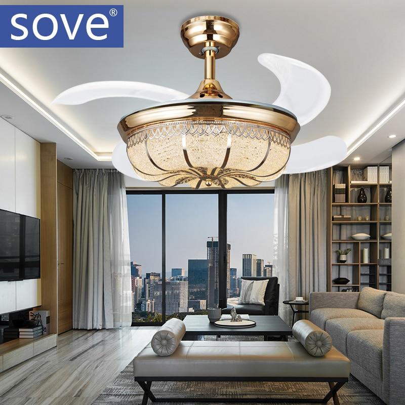 36 Inch Modern Led Crystal <font><b>Ceiling</b></font> Fans With Lights Bedroom Fan Lamp Home Decoration Folding <font><b>Ceiling</b></font> Fan Remote Control 220 Volt