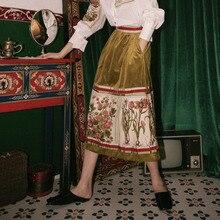 YH072 2020 すべてマッチ 春夏の服レトロ印刷ベルベットハイウエスト半身スカートポケット